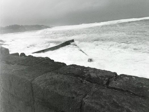 Waves Topping Sea Wall